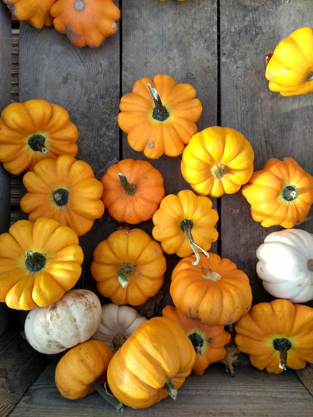 artificial pumpkins inside crate