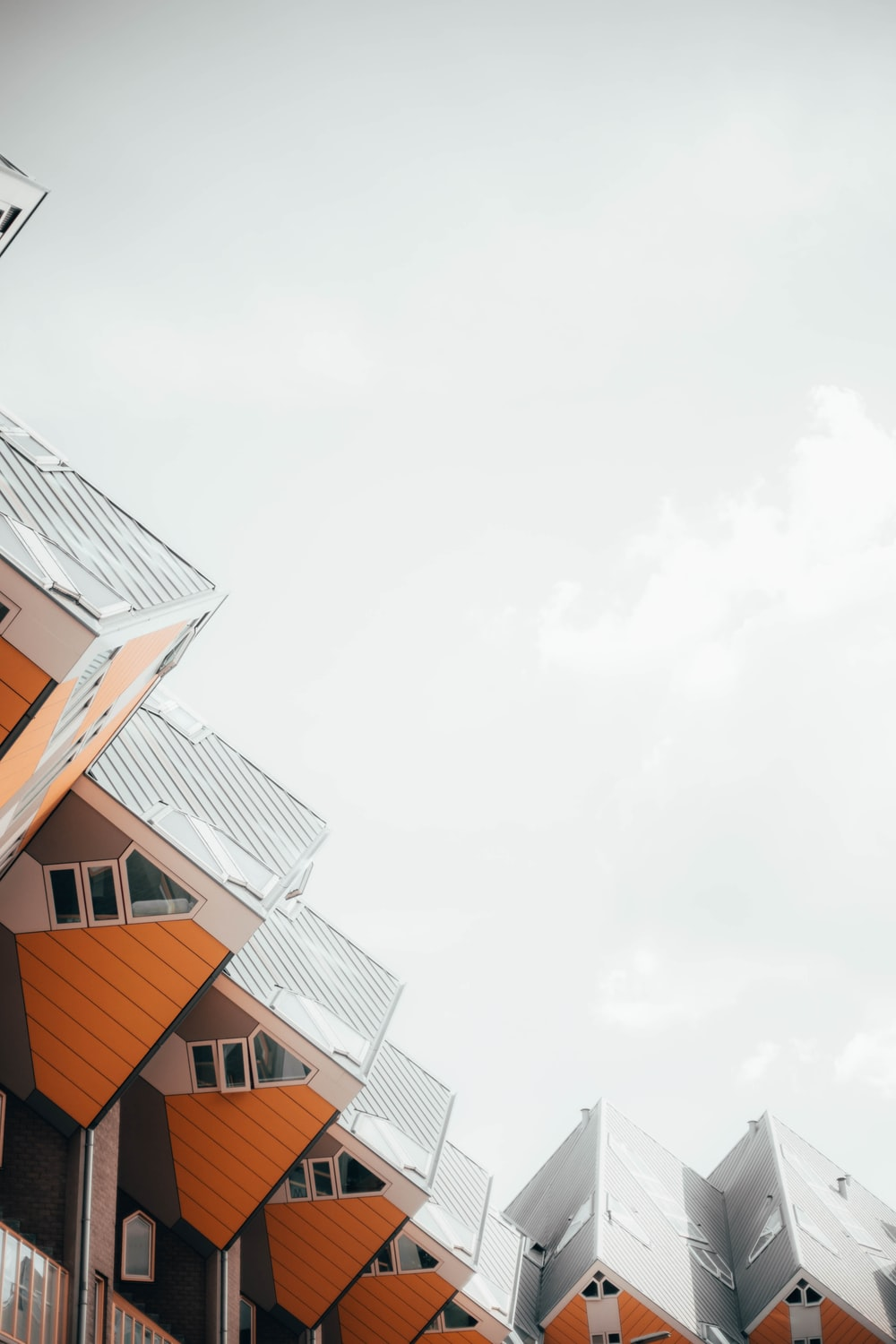 white and orange wooden houses