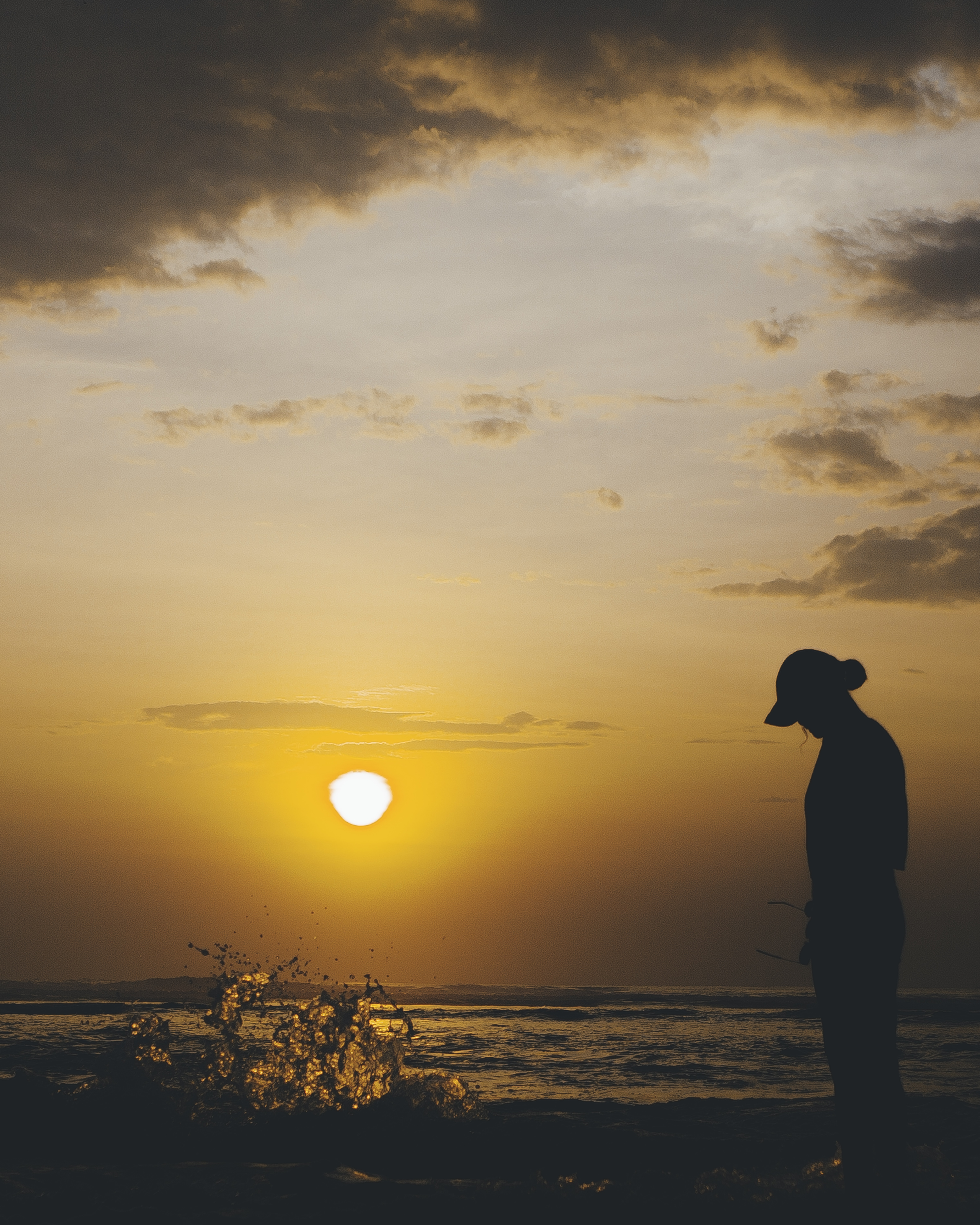 silhouette of person on beach