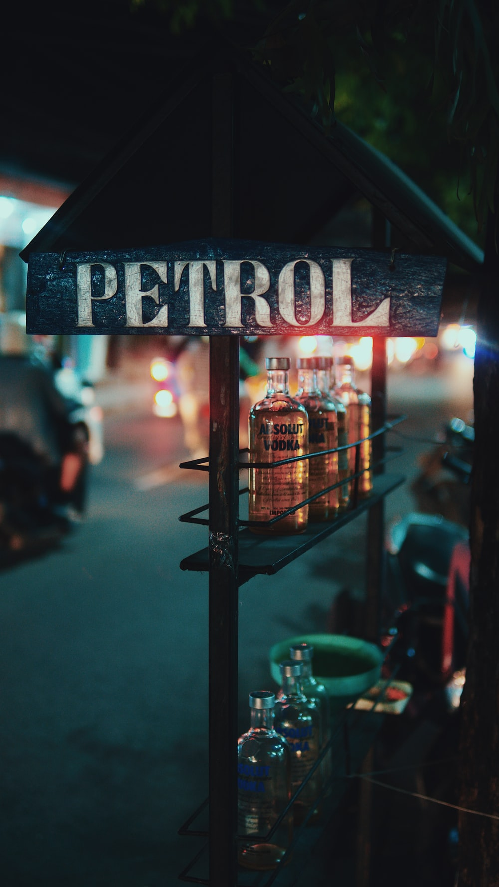 petrol wooden vodka station