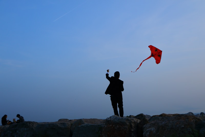 man playing red kite