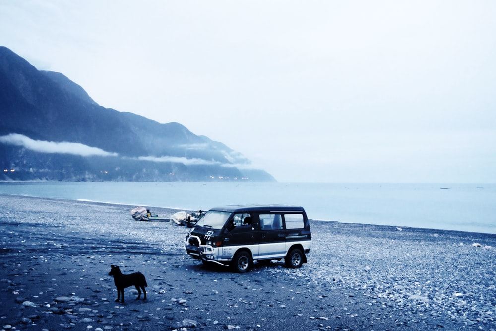 black van on shore