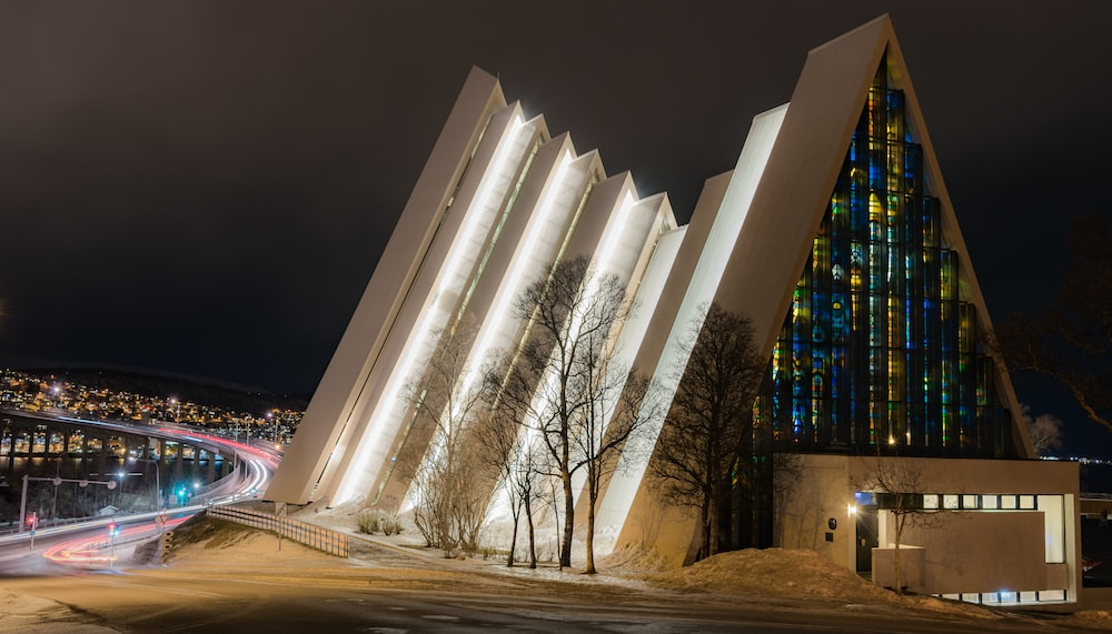 lighted architectural building during night time