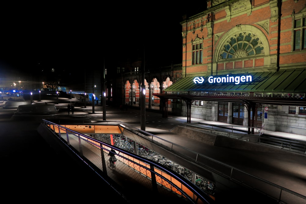 Groningen signage on green metal roof