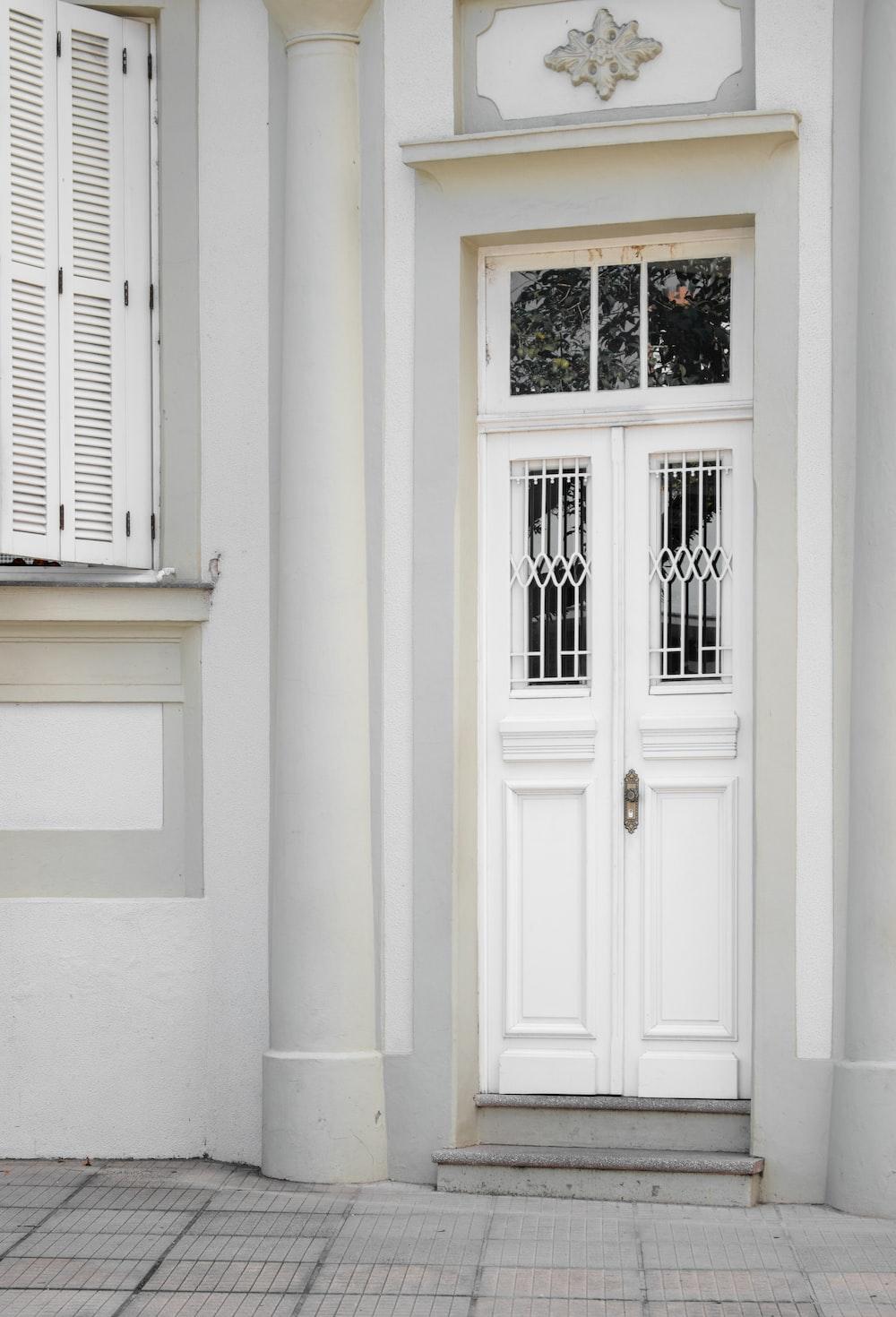 white wooden door closed