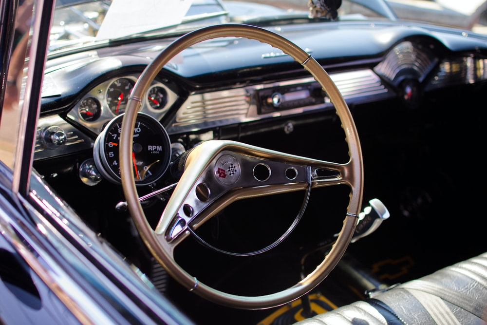 gold steering wheel