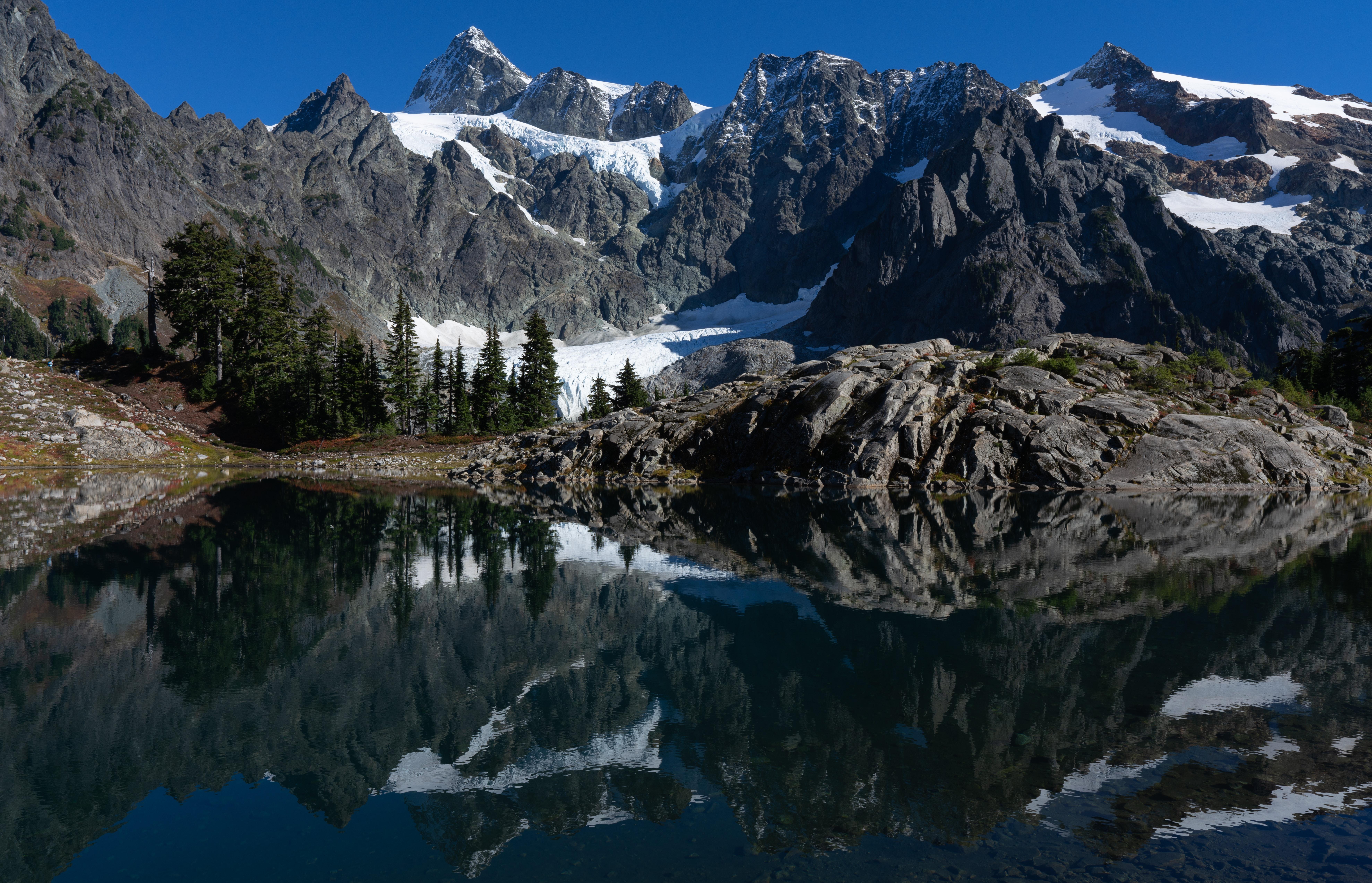 landscape photography of mountain near lake