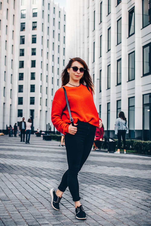 woman wearing red sweatshirt
