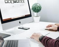 person using iMac