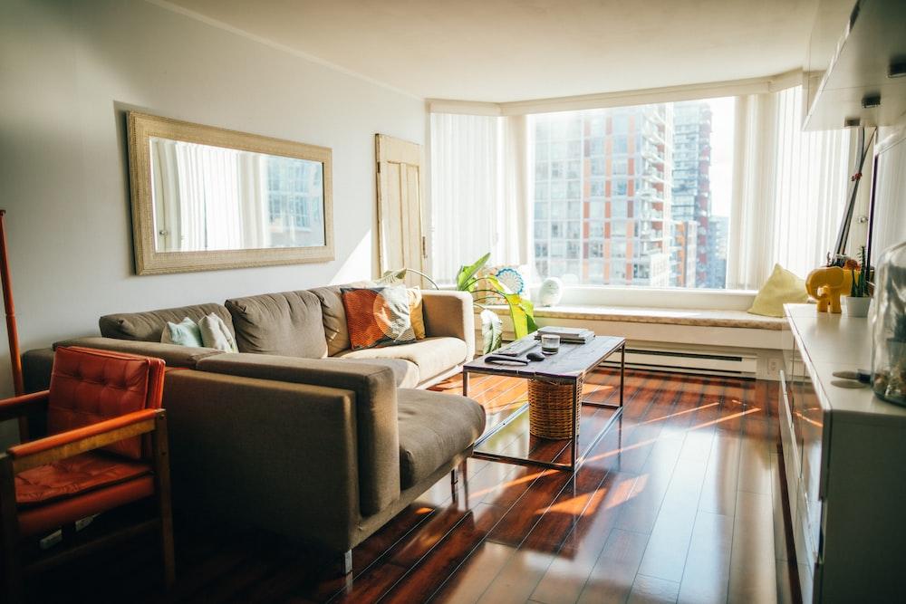 living room furniture set near window