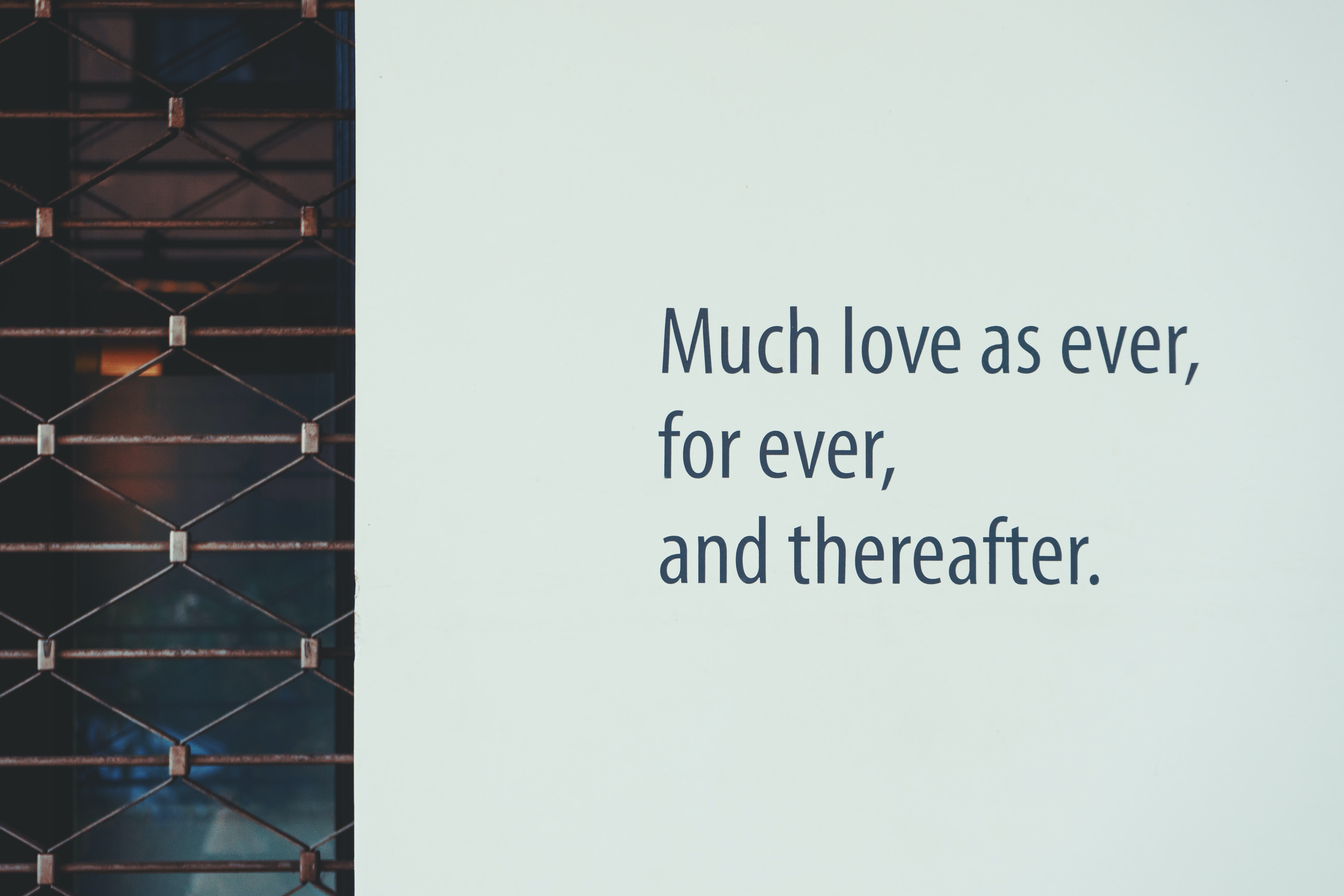 white background with much love as ever, for ever, and thereafter. text overlay