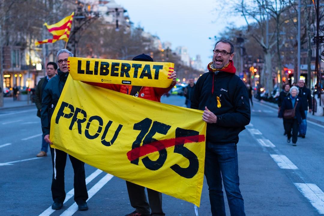 Protesters in Barcelona, Catalonia, Spain