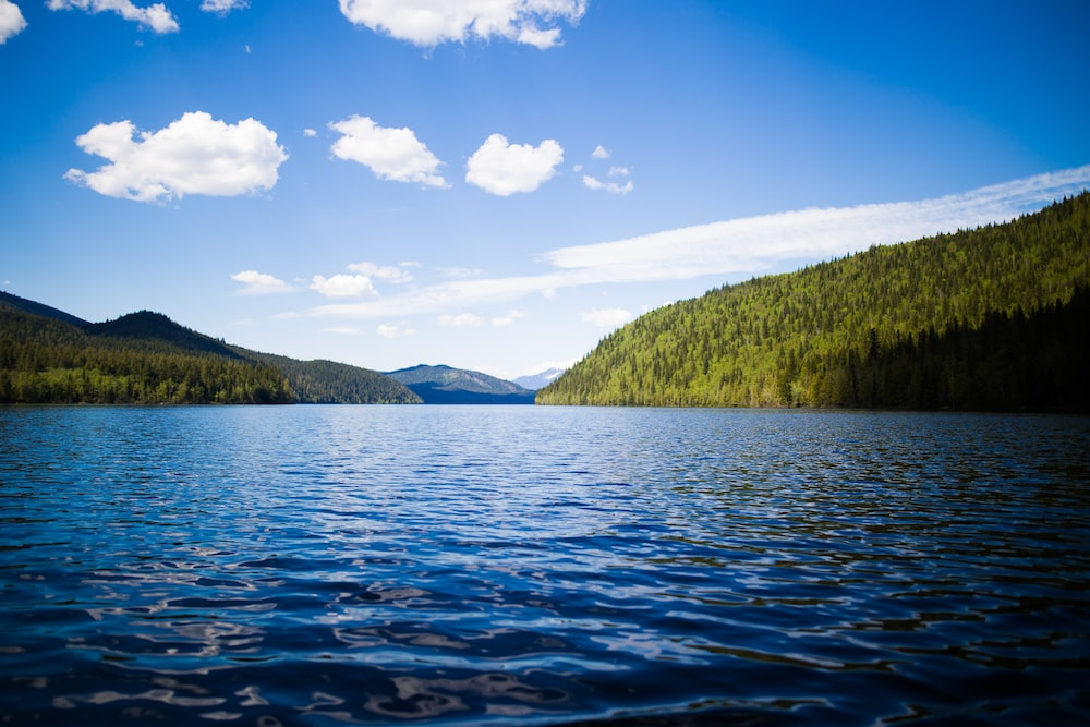 calm body of water near mountain during daytime