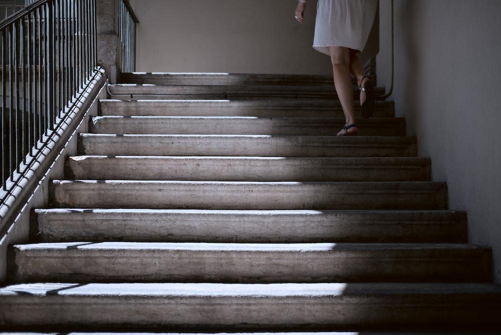 woman walking in stair