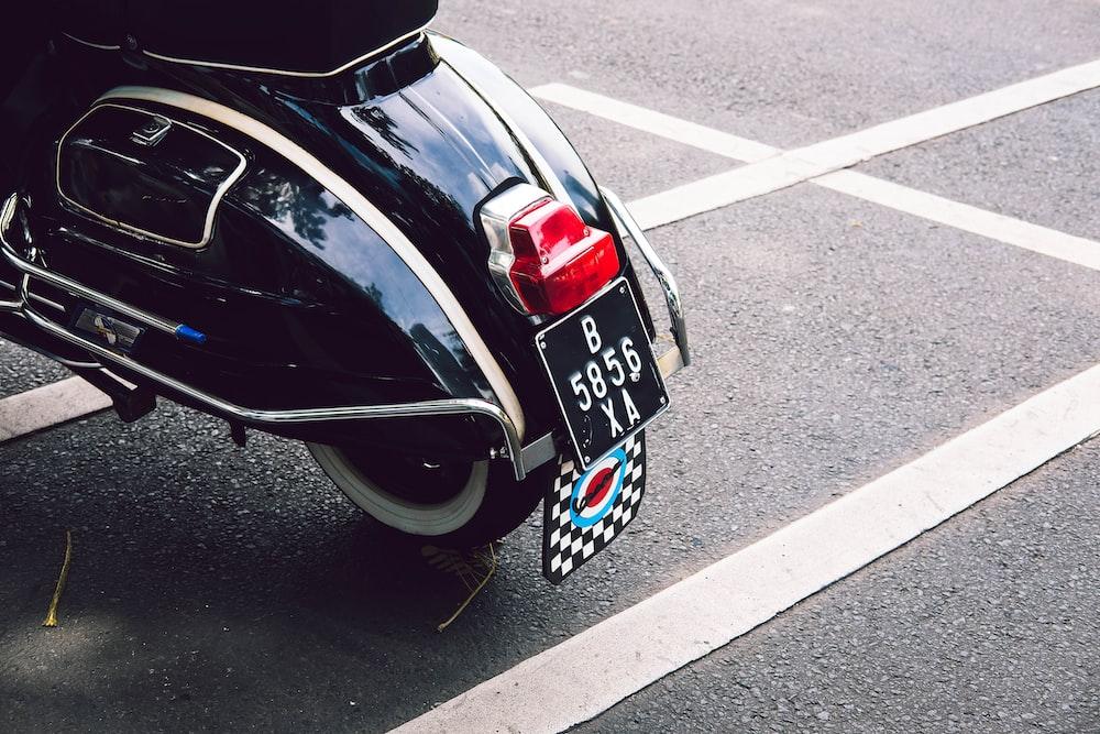 black motor scooter