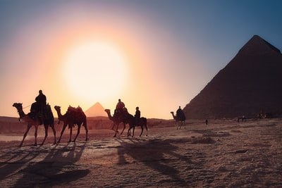 five persons riding camels walking on sand beside pyramid of egypt egypt zoom background
