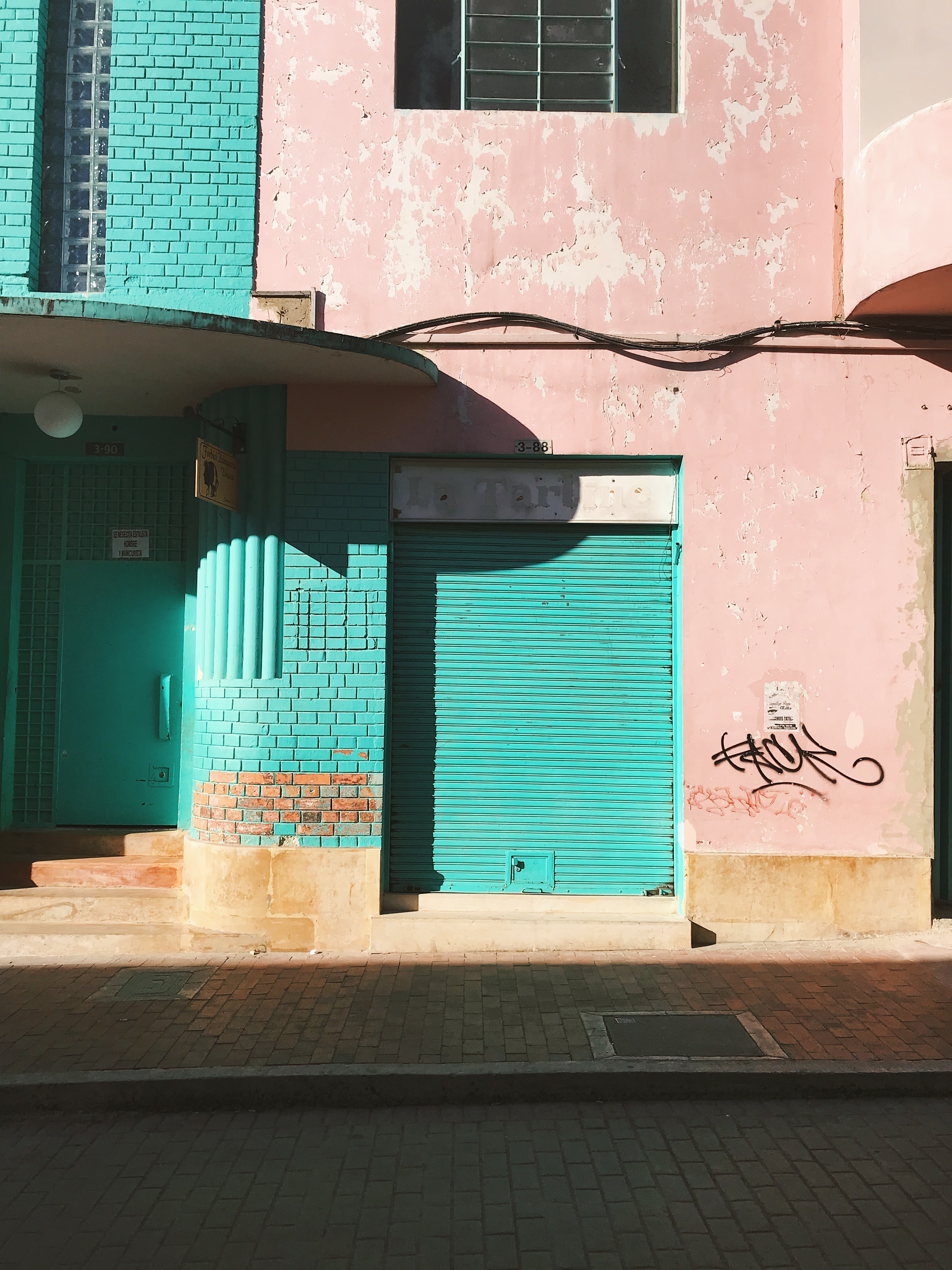 blue and pink concrete building