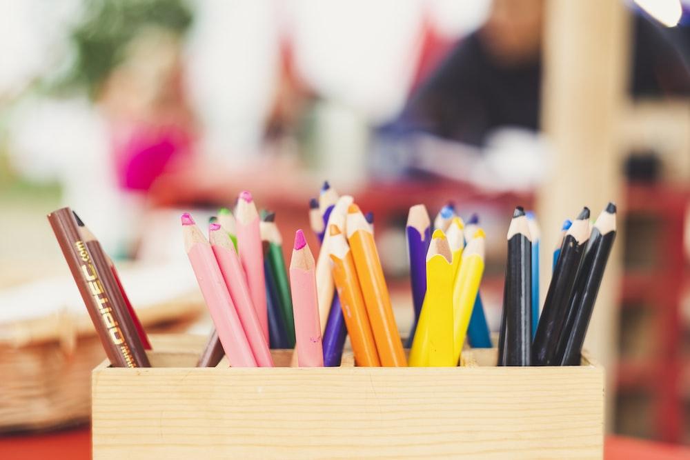 assorted-color color pencils