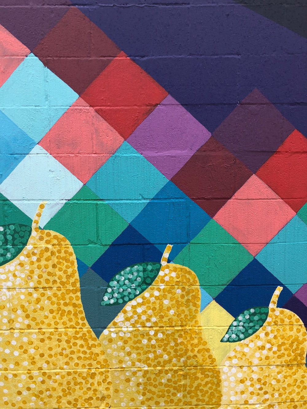 yellow pear fruits painted wall