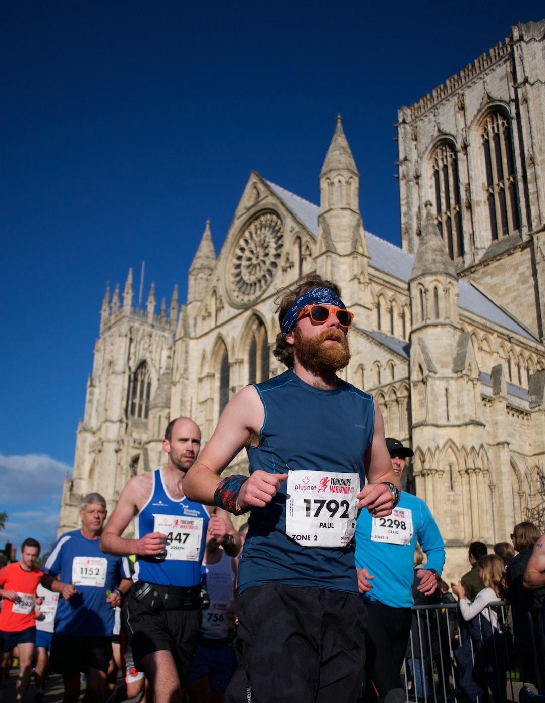 Marathon runner with York Minster behind