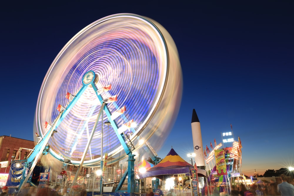 time lapsed photo of ferris wheel