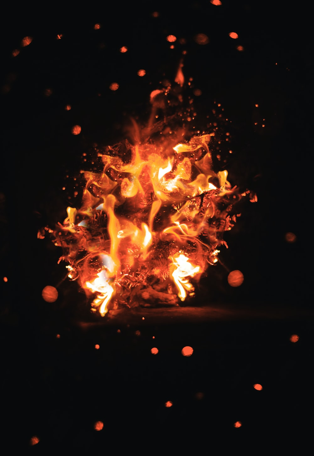 close-up photo of bonfire