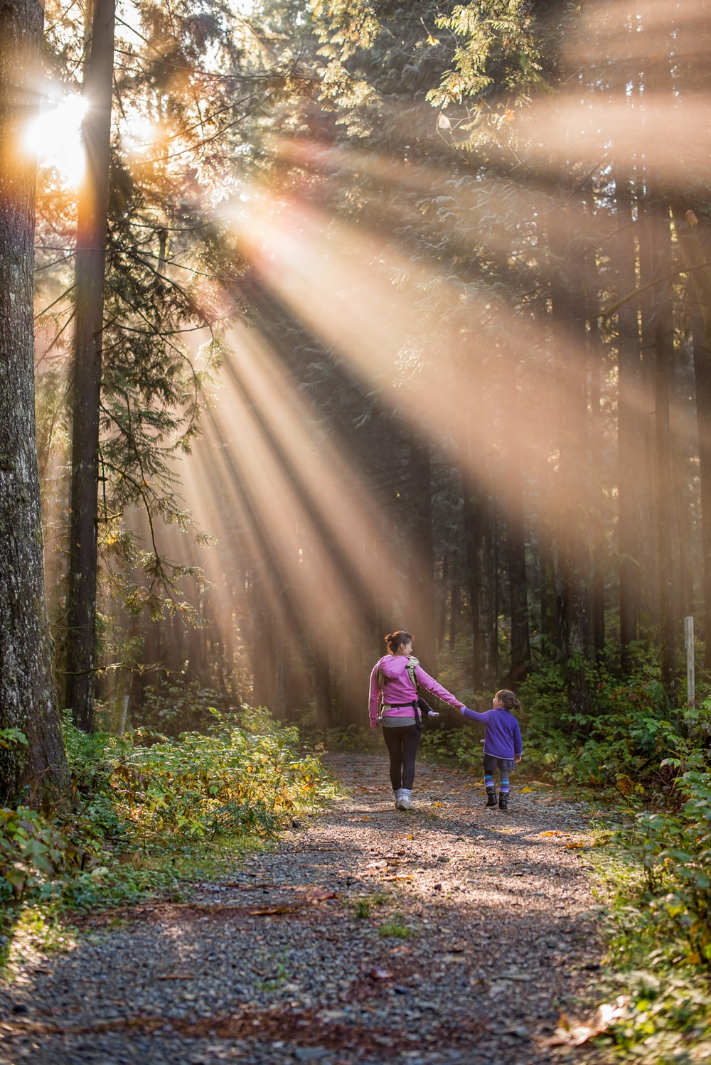 woman walking in forest with child