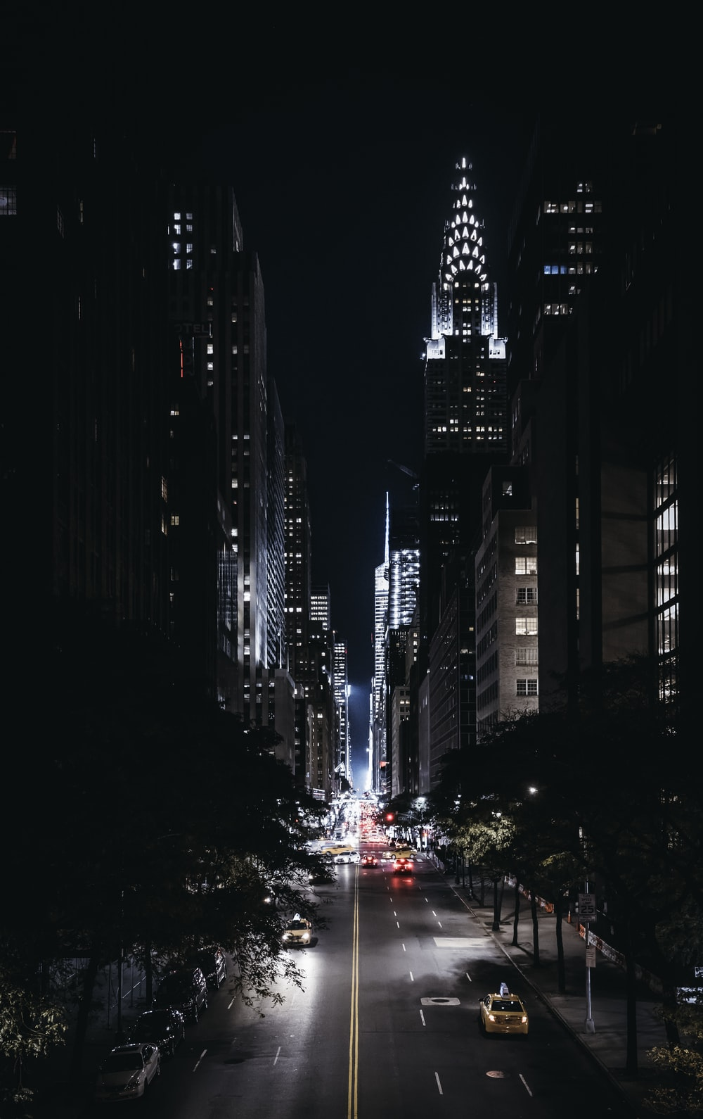 aerial photography of city high rise building at night