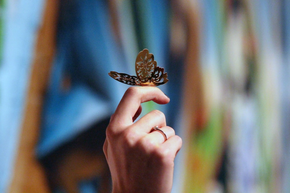 steel butterfly figurine on person's finger