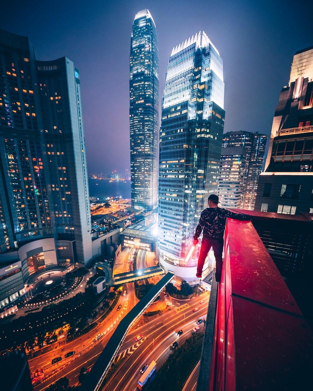 man parkour on a building