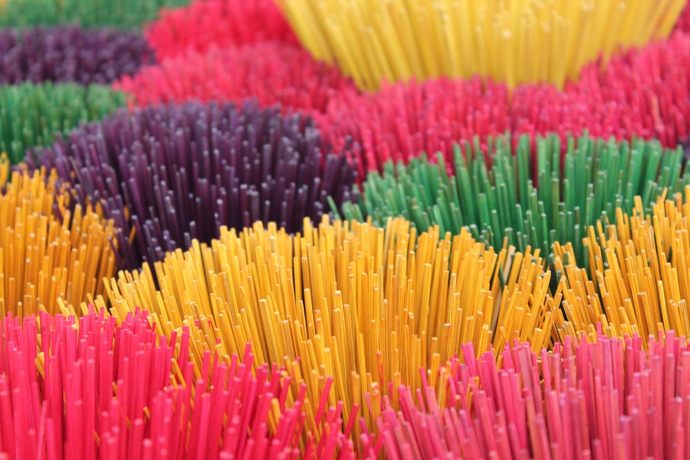 selective focus photography of stick decors
