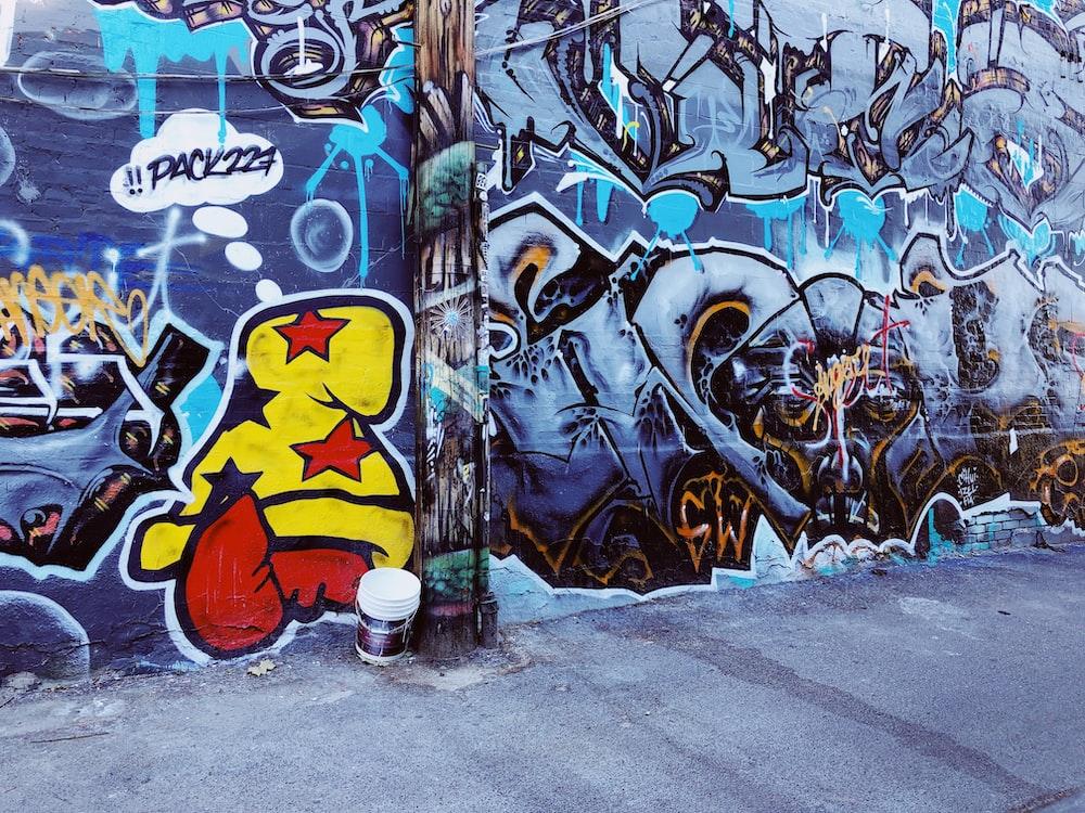 multicolored wall vandalism
