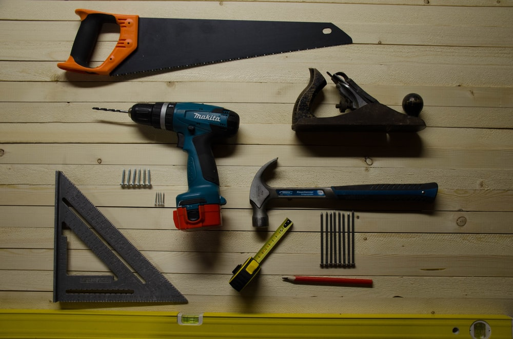 assorted-color handheld tools