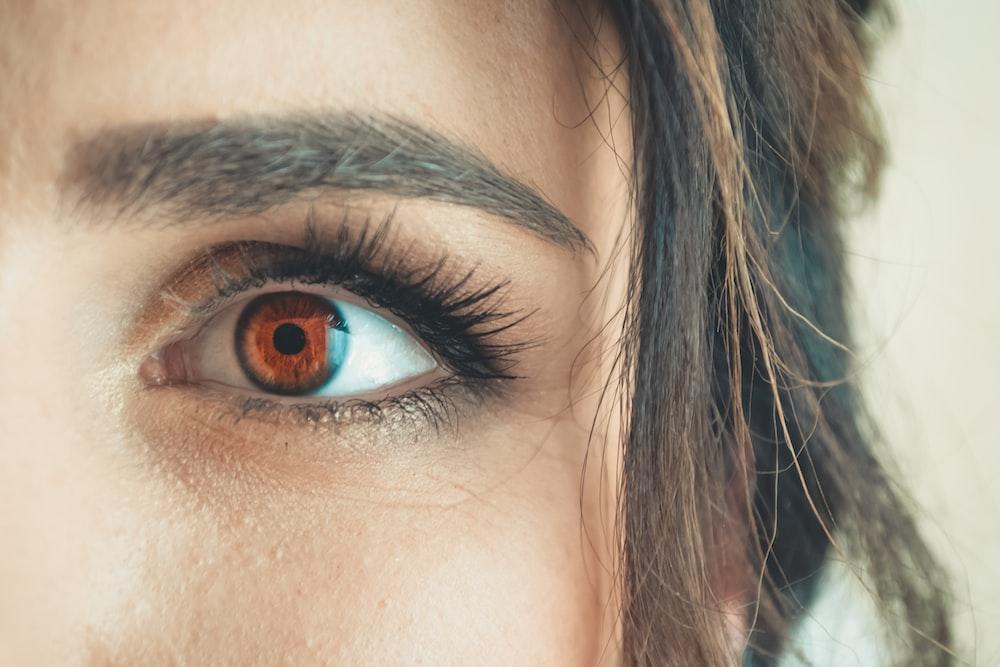 woman's left brown eye