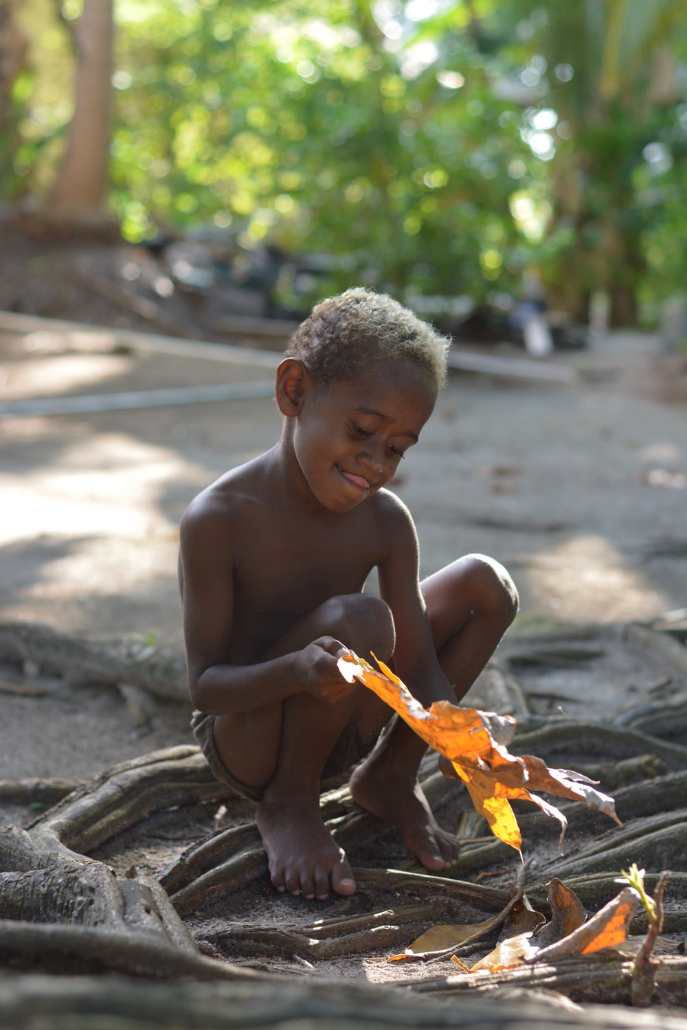 topless boy boy holding brown leaf during daytime