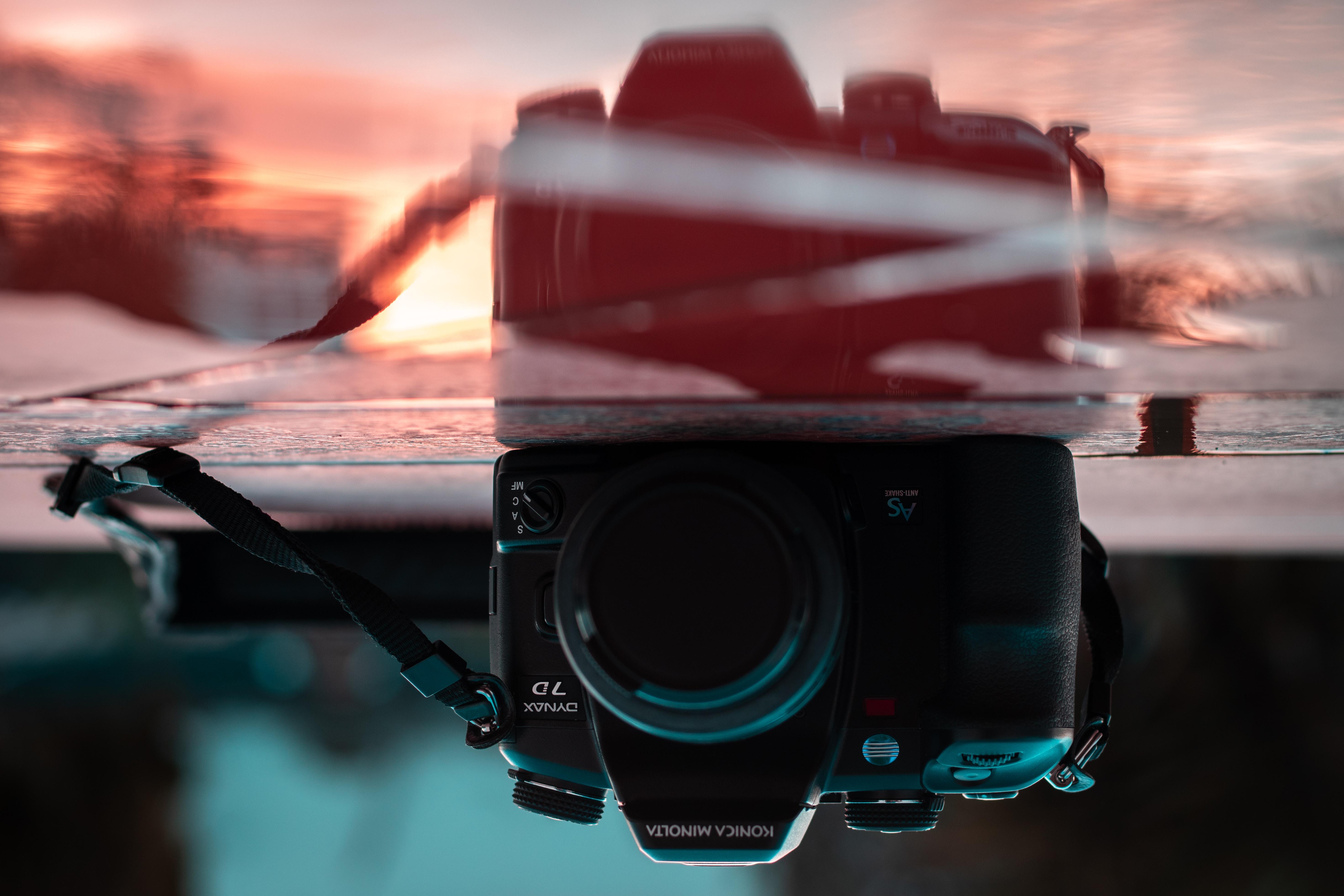 reflection photo of bridge camera