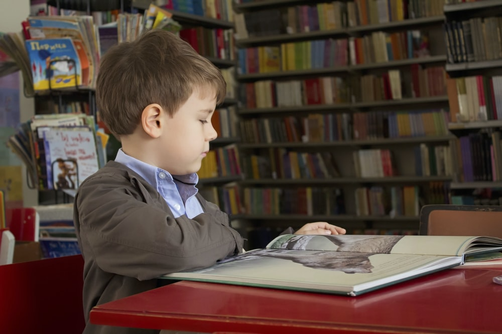 boy sitting near red table reading book