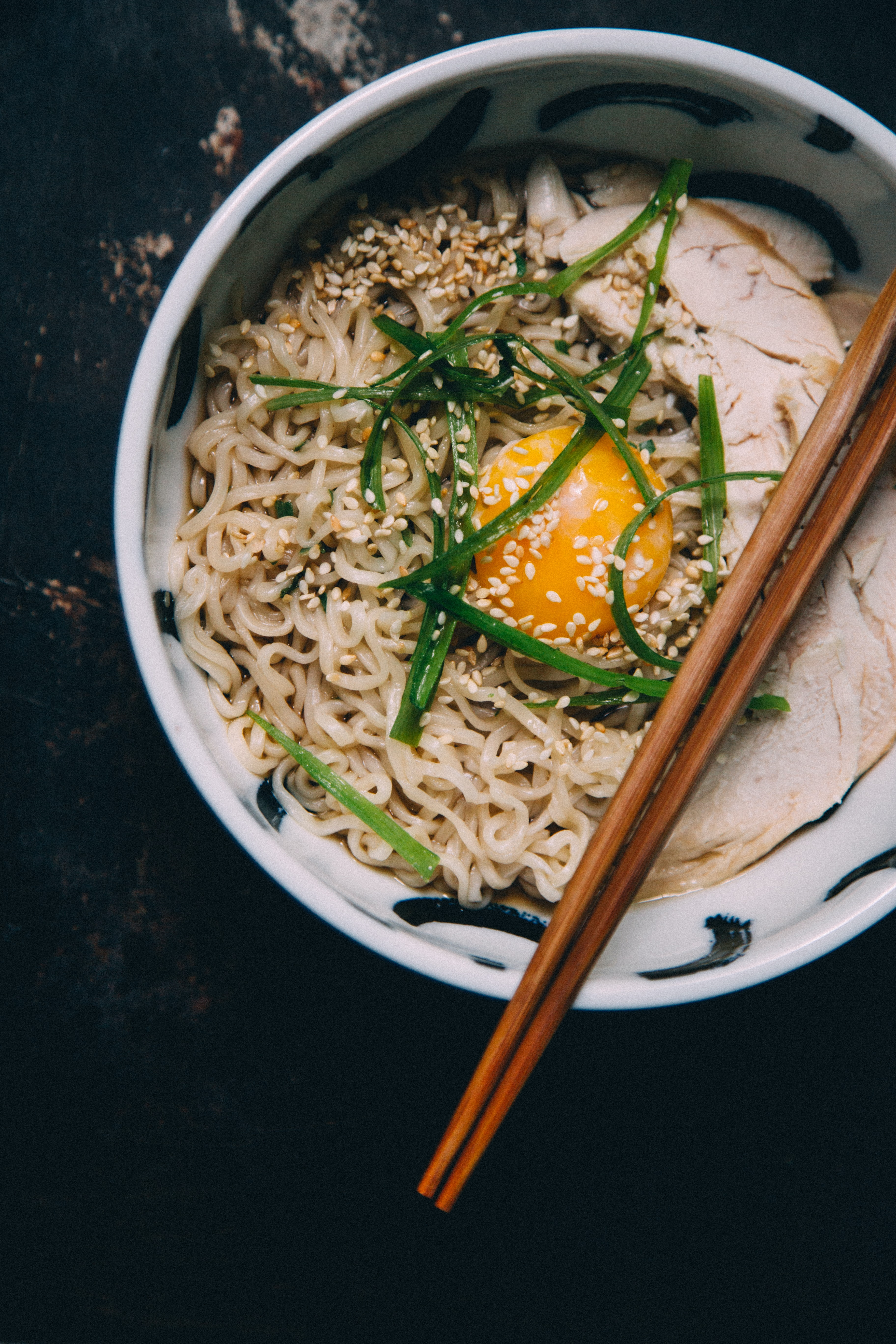 bowl of noodle with egg