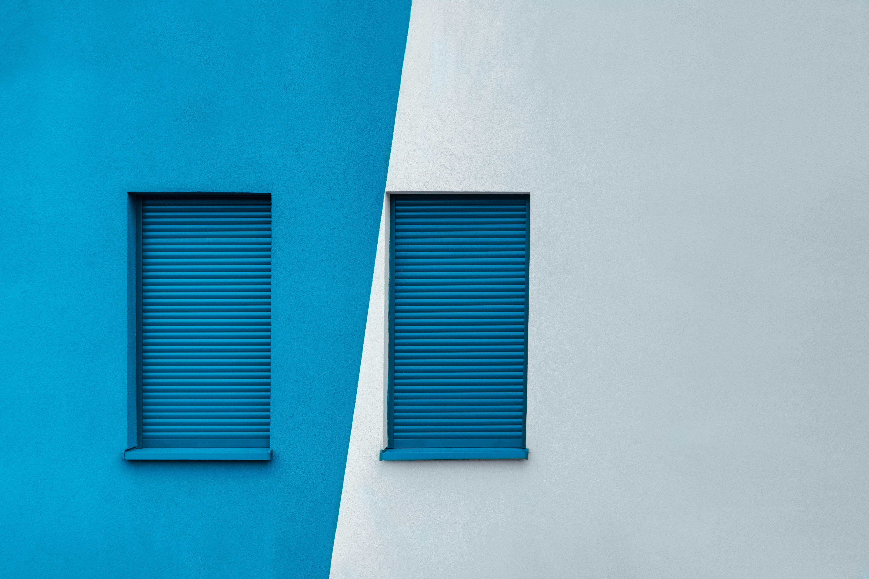 blue wooden window frames