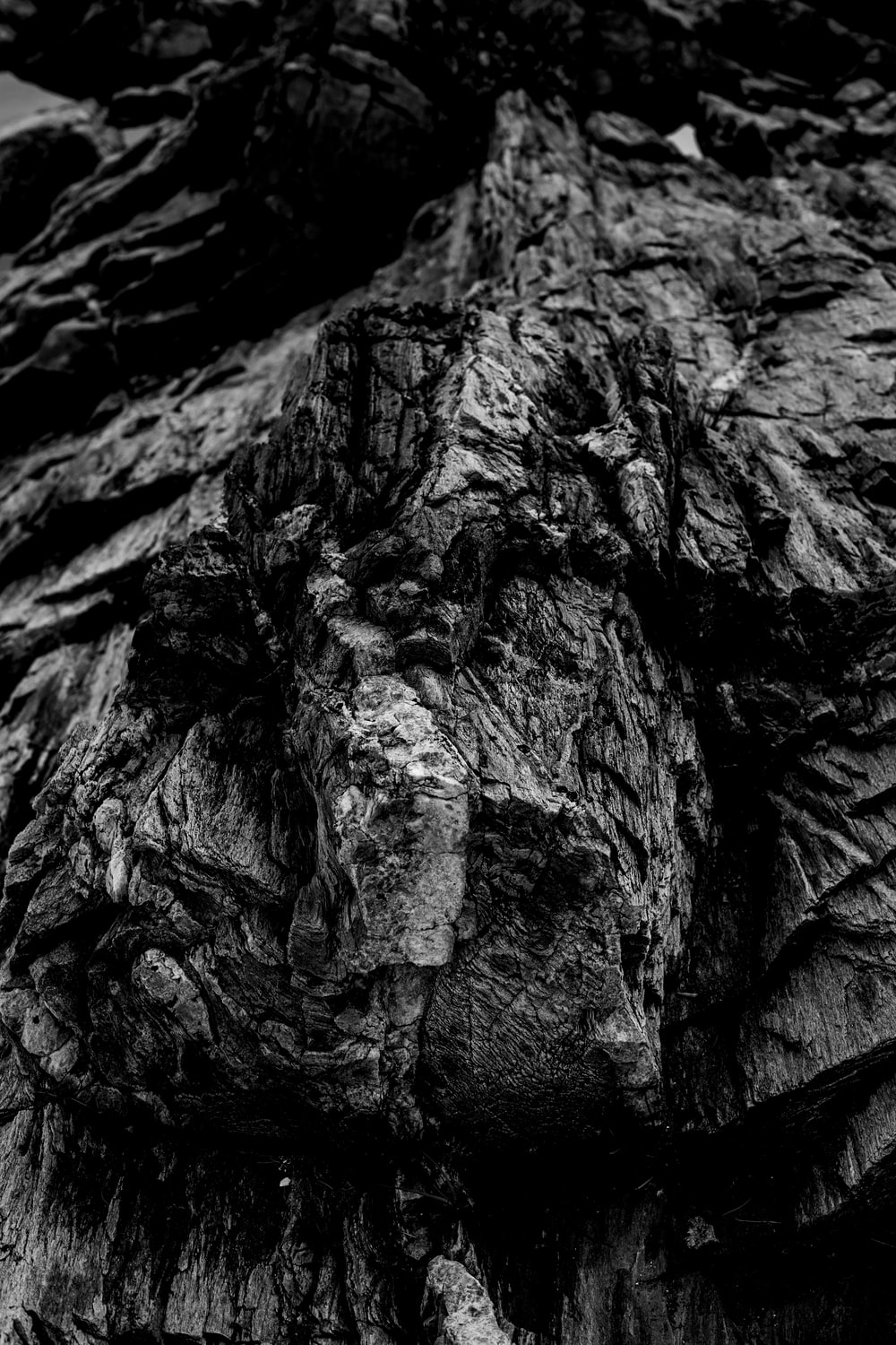 grayscale photo of rock