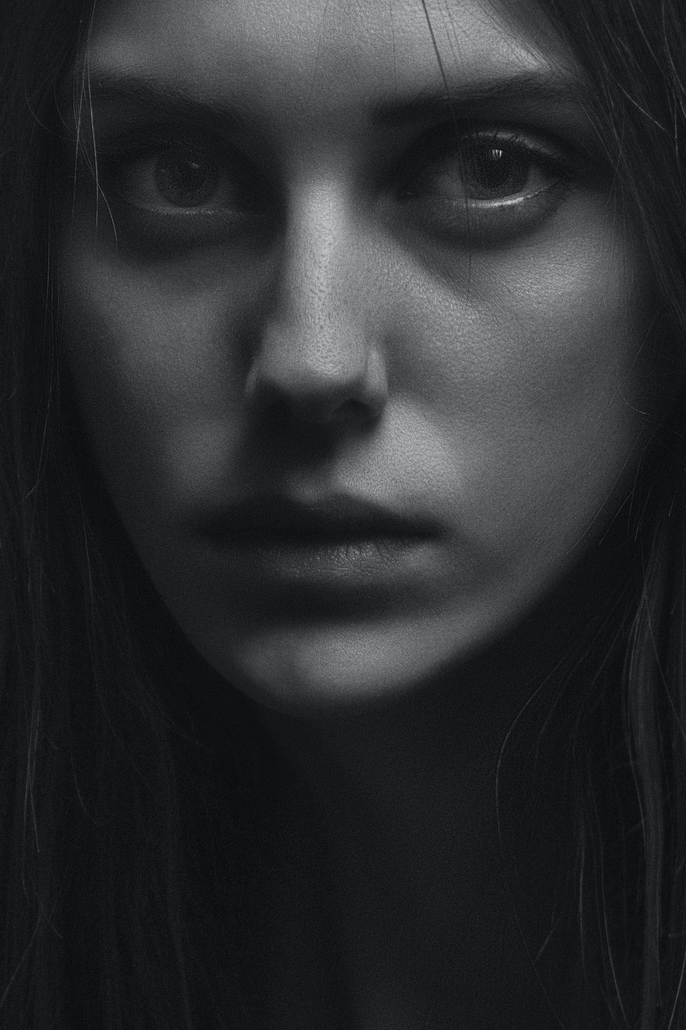 grayscale woman face