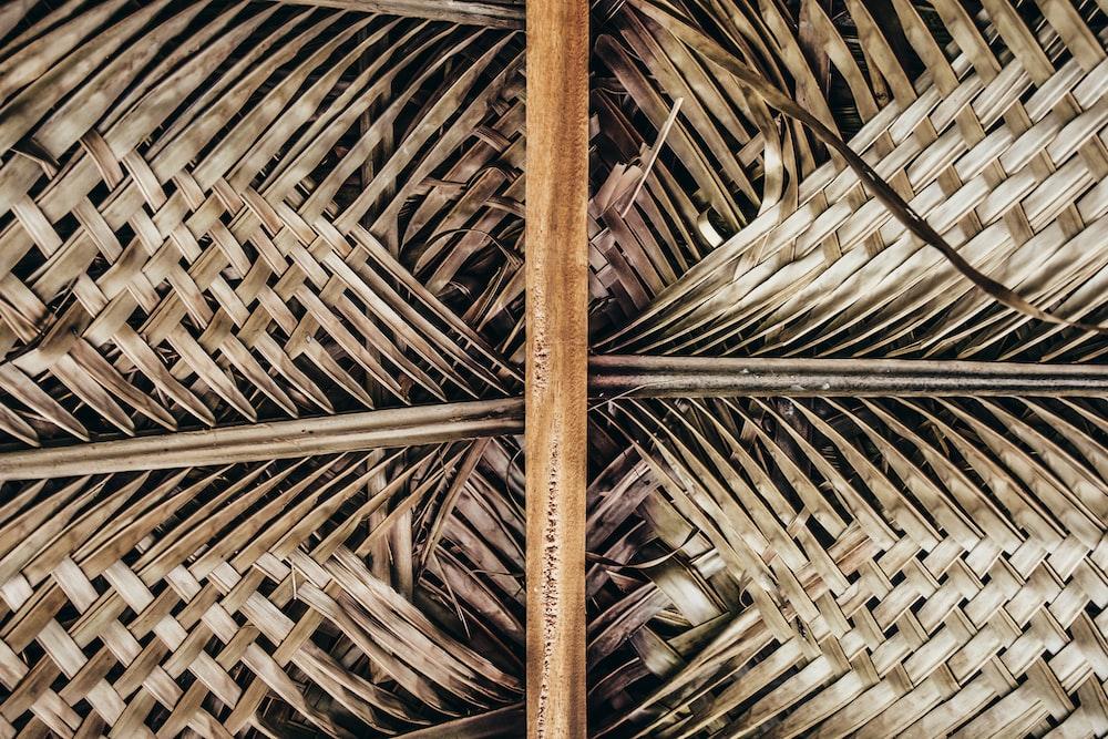 brown coconut leaf wicker wall