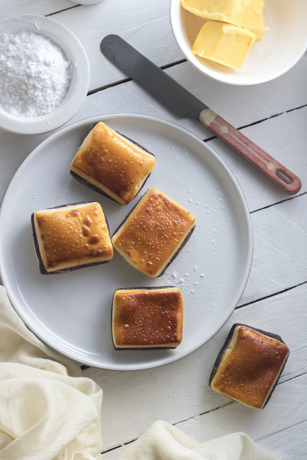 cube breads on white plate