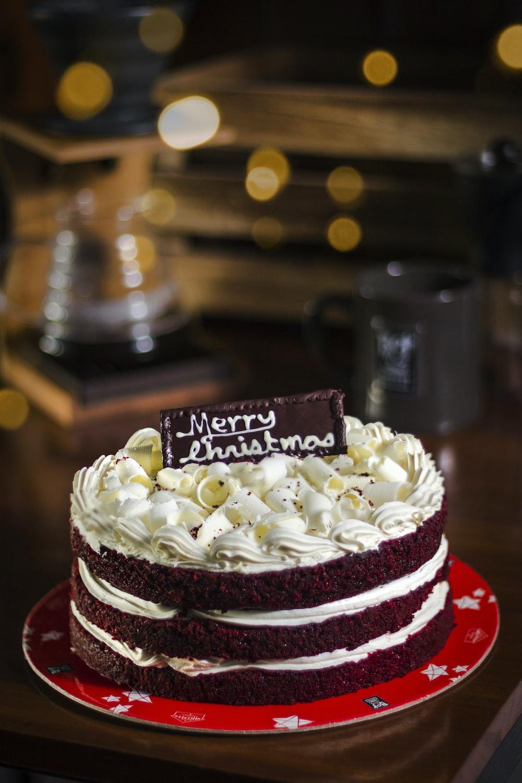Merry Christmas chocolate cake on table
