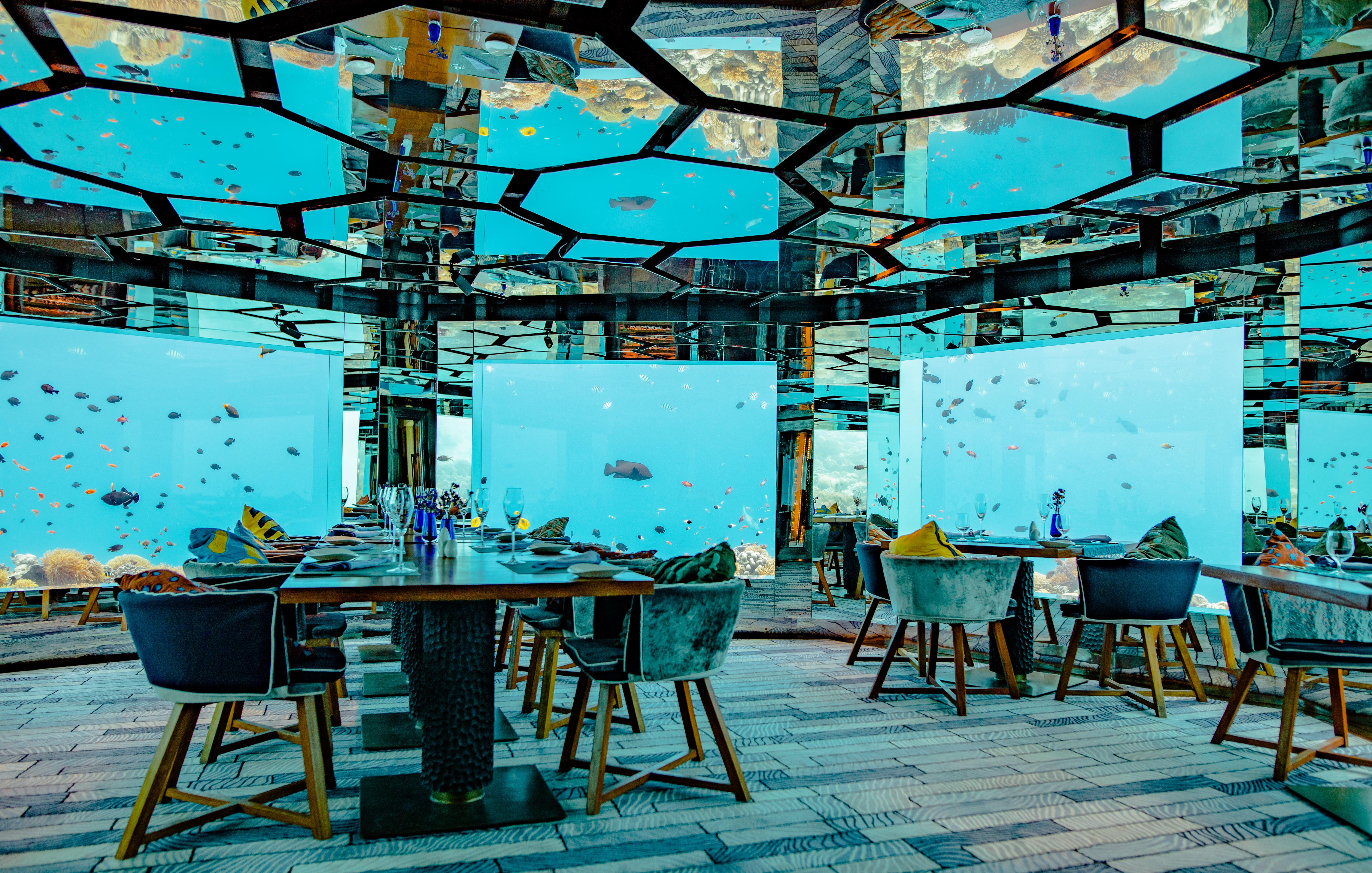 'Sea' underwater restaurant at the Anantara Kihavah Maldives Villas resort