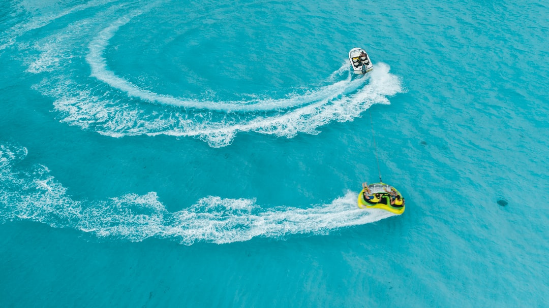 Tubing behind a boat in the Maldives