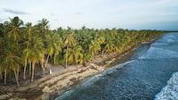 A couple walks along the coastline in the Maldives