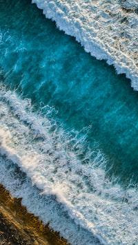 Waves along the coastline of the Maldives