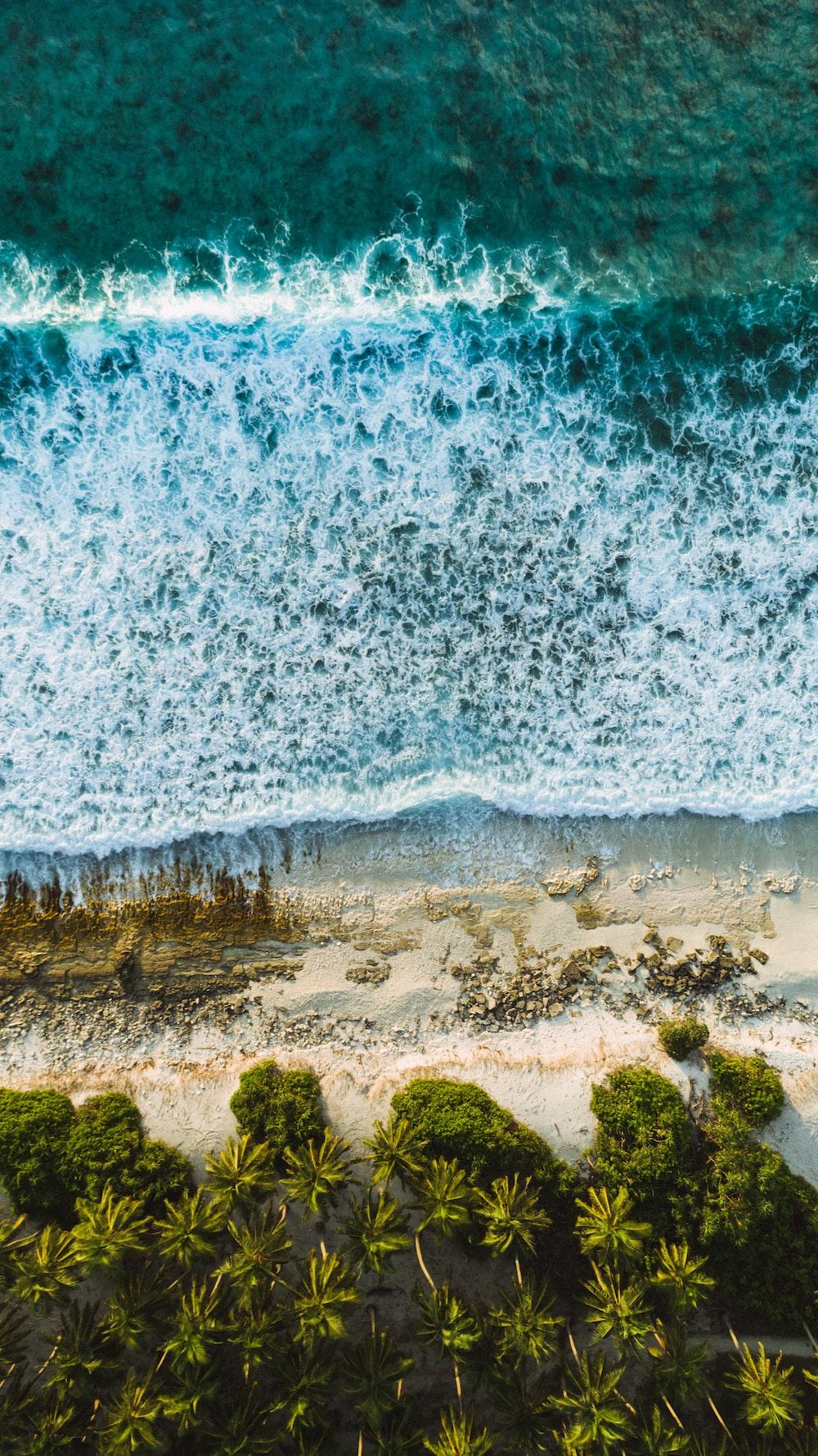 high angle photography of seawaves