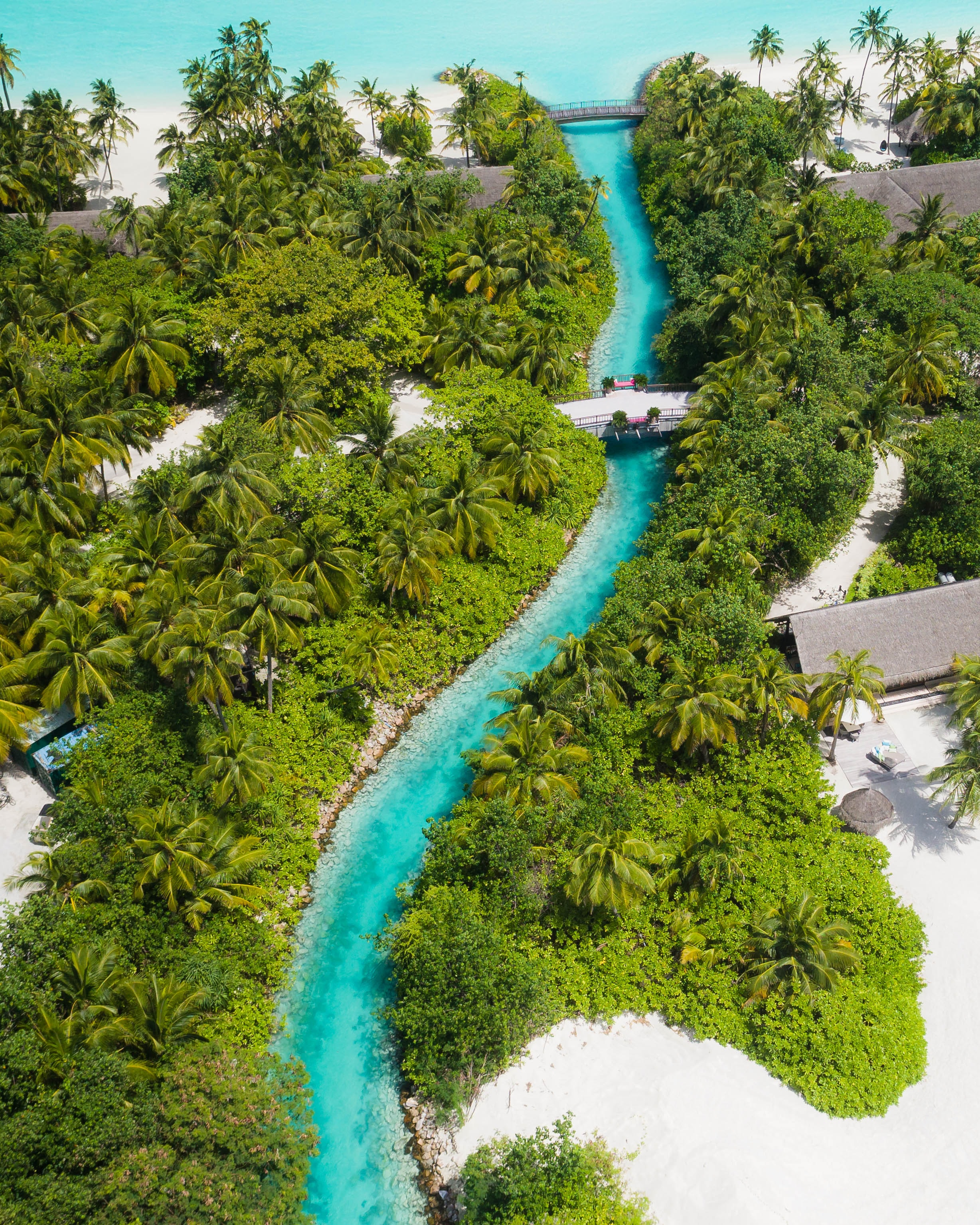 Resort canal into the sea in the Maldives